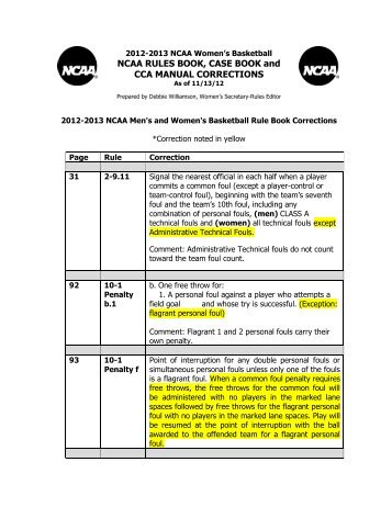 2012-13 NCAA Rules and Case Book Corrections - ArbiterSports