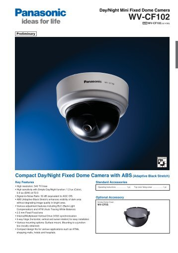 Product catalogue for WV-CF102 Analog Camera - AAC Distribution
