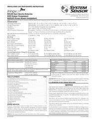 D4120 Duct Smoke Detector D4S Sensor ... - Fire-Lite Alarms