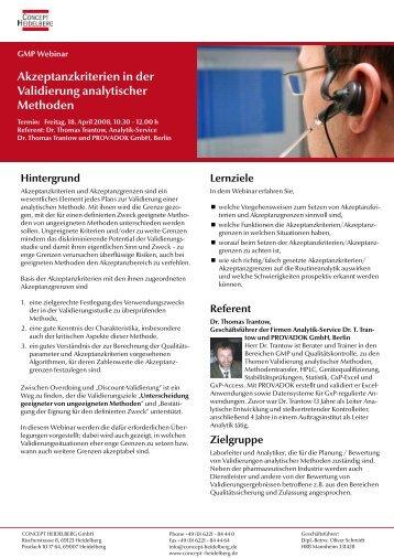 Akzeptanzkriterien in der Validierung analytischer ... - GMP-Navigator