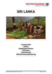 Länderinformation Sri Lanka - Weltweitwandern