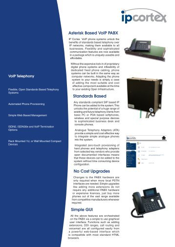 voip telephony datasheet - IPCortex