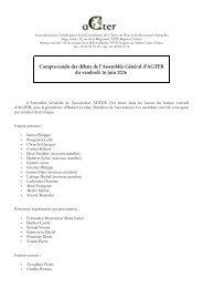 Compte-rendu des débats de l'Assemblée Général d'AGTER du ...
