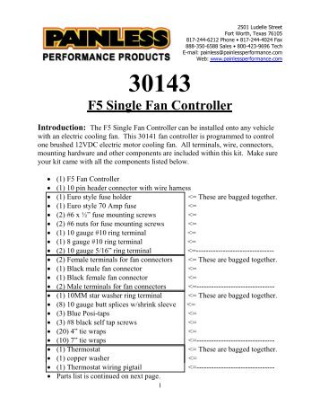 The F5 Dual Fan Controller can be installed - Painless Wiring