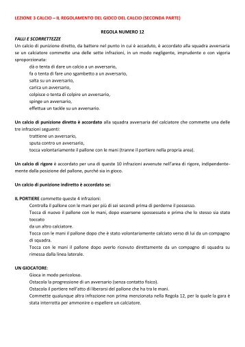 LEZIONE 3 CALCIO – IL REGOLAMENTO DEL ... - life and fitness