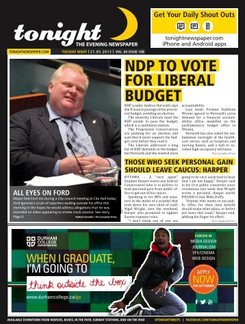 NDP TO VOTE FOR LIBERAL BUDGET - tonight Newspaper