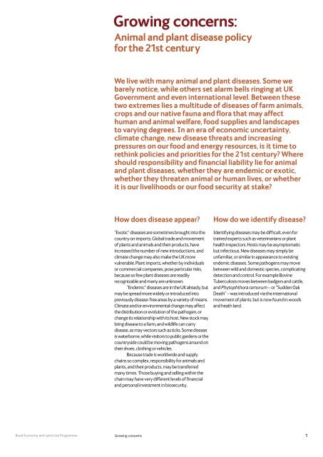 Animal and plant disease policy for the 21st century - Relu ...