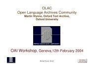 OLAC Open Language Archives Community OAI Workshop, Geneva ...