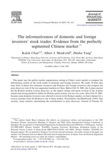 The informativeness of domestic and foreign investors' stock trades ...