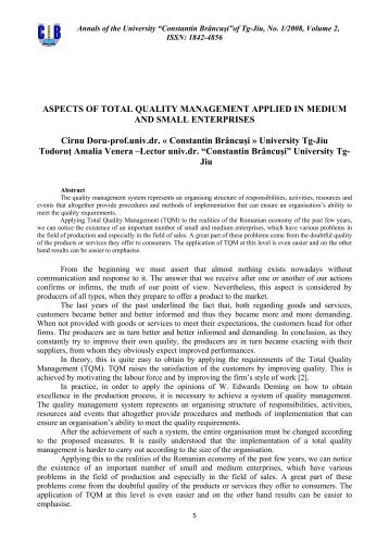 ASPECTS OF TOTAL QUALITY MANAGEMENT APPLIED IN ...