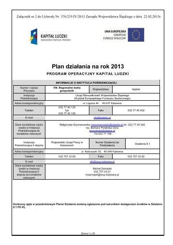 Plan działania na rok 2013 - EFS WUP Katowice - Wojewódzki ...