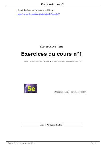 Exercices du cours n°1 - Cours de physique et de chimie