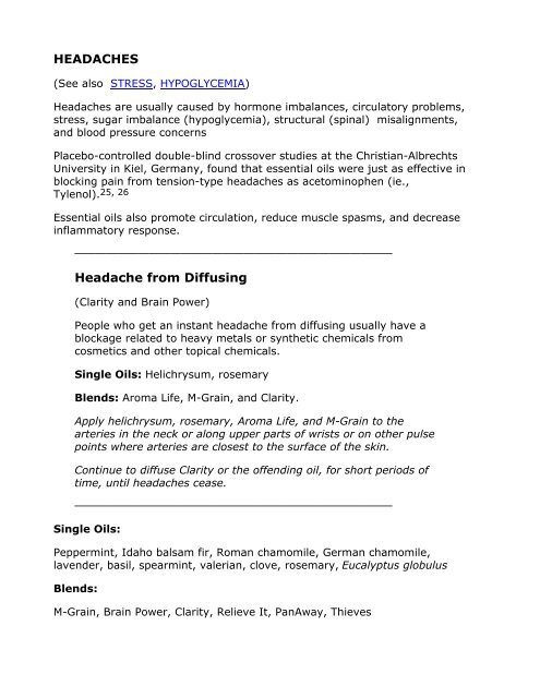 Headache from Diffusing - Essential Oil Therapies