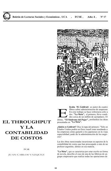 EL THROUGHPUT Y LA CONTABILIDAD DE COSTOS