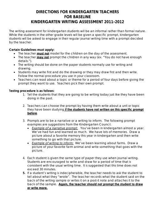 Directions For Kindergarten Teachers For Baseline