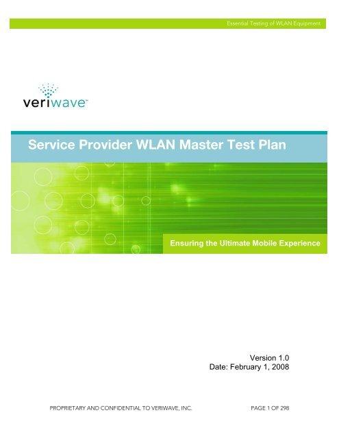 Service Provider WLAN Master Test Plan - Ixia
