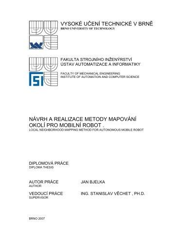 návrh a realizace metody mapování okolí pro mobilní robot - Ústav ...