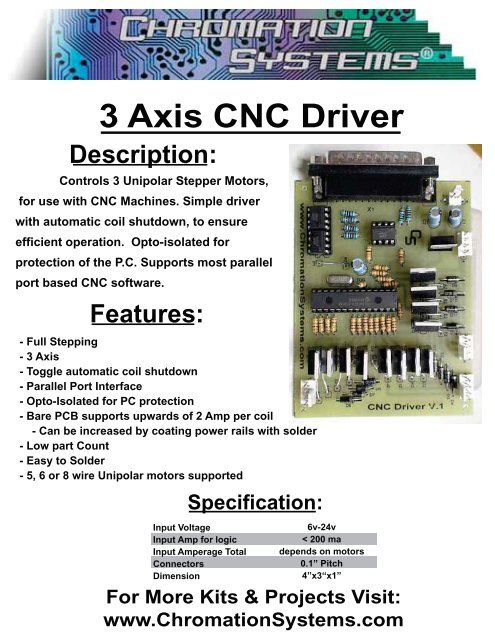 3 Axis CNC Driver - Chromation Systems