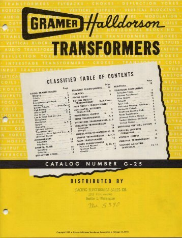 1955 Halldorson transformer catalog - tubebooks.org