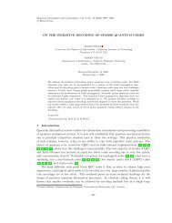 ON THE ITERATIVE DECODING OF SPARSE QUANTUM CODES 1 ...