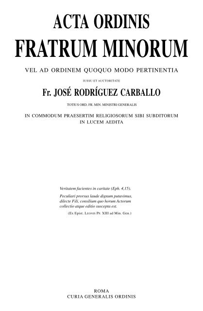 acta ordinis fratrum minorum - OFM