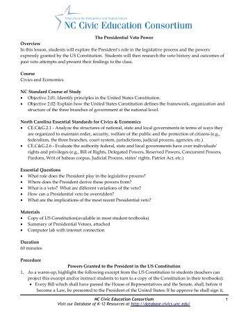 Presidential Veto Power - Database of K-12 Resources