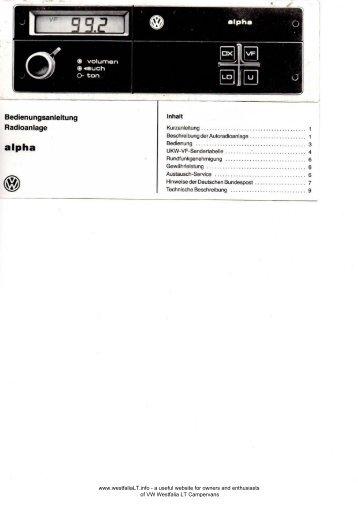 Bedienungsanleitung Radioanlage - VW Westfalia LT Camper Info ...