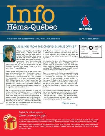 December 2004 (832 KB) - Héma-Québec