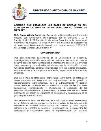 Acuerdos - sistema administrativo de calidad - Universidad ...
