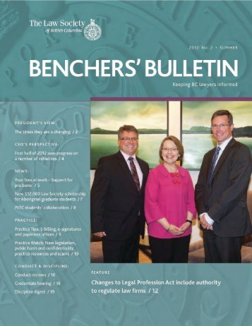 Benchers' Bulletin: 2012 No. 2 Summer - The Law Society of British ...