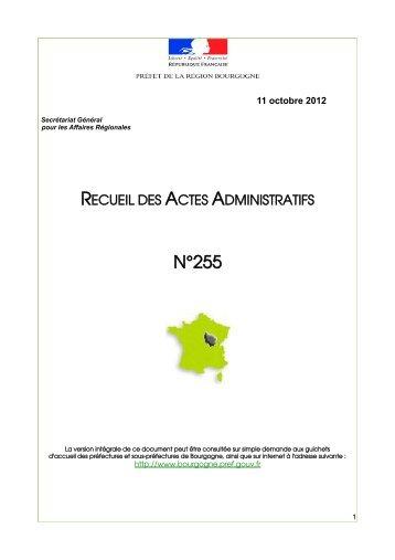 RAA 255 - Préfecture de la Côte-d'Or