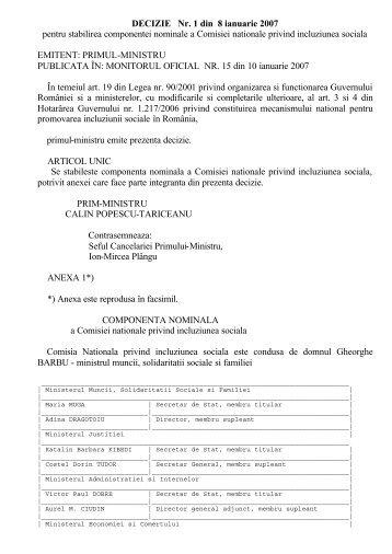 Decizia nr. 1 din 8 ianuarie 2007 pentru - Ministerul Muncii, Familiei ...