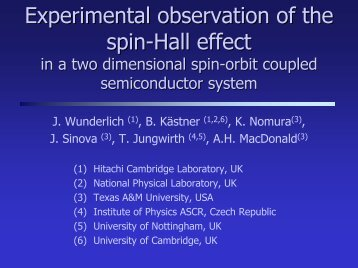 """Spin Hall effect in two dimensional hole gases"" by Joerg Wunderlich"
