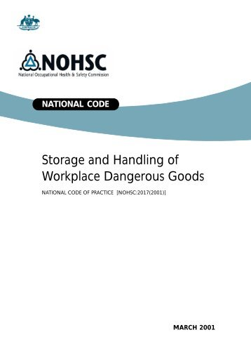 Storage and Handling of Workplace Dangerous Goods - Human ...