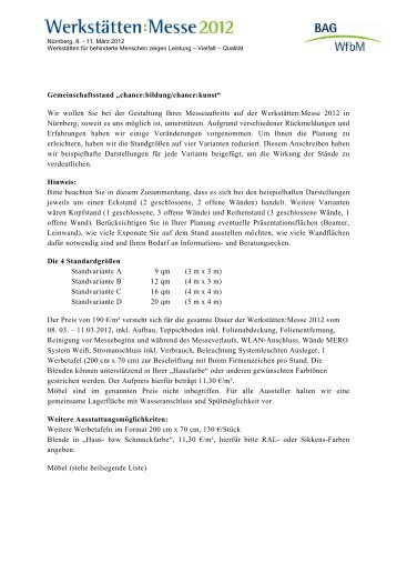 "Gemeinschaftsstand ""chance:bildung/chance:kunst"" - Werkstätten ..."