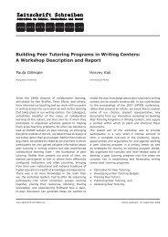 Building Peer Tutoring Programs in Writing Centers - Zeitschrift ...