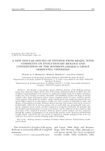 a new insular species of pitviper from brazil, with comments on ...