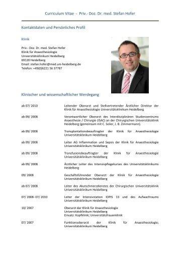 Curriculum Vitae - Priv.- Doz. Dr. med. Stefan Hofer Kontaktdaten ...