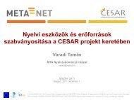 CESAR projekt - CESAR project - MTA Nyelvtudományi Intézet