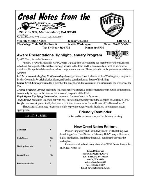 January - Washington Fly Fishing Club