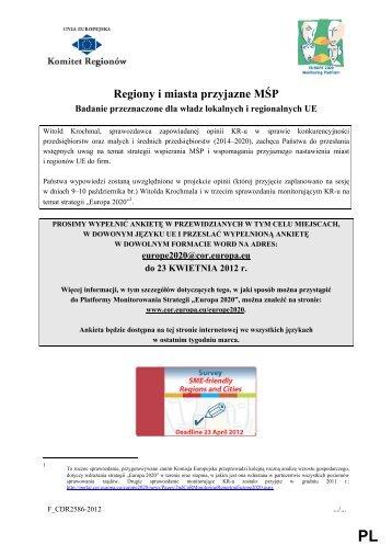 Regiony i miasta przyjazne MŚP - Europa