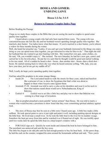 Hosea And Gomer Forgiving The Unfaithful