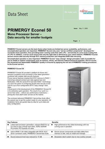 PRIMERGY Econel 50 Mono Processor Server – Data ... - Icecat