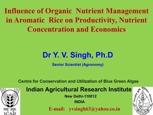 Comparison of organic and conventional basmati ... - INRA Montpellier