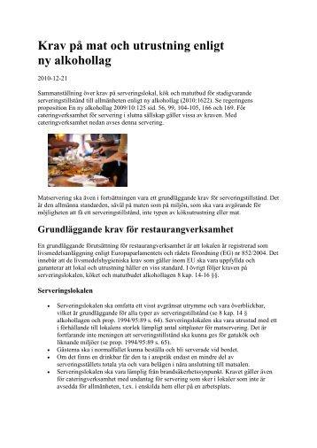 Krav på mat och utrustning enligt ny alkohollag (pdf - 50 kB)