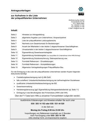 Inhalt Seiten Antrag zur Zertifizierung von ... - Zertifizierung Bau