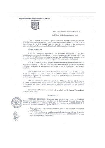 Información - Universidad Nacional Agraria La Molina