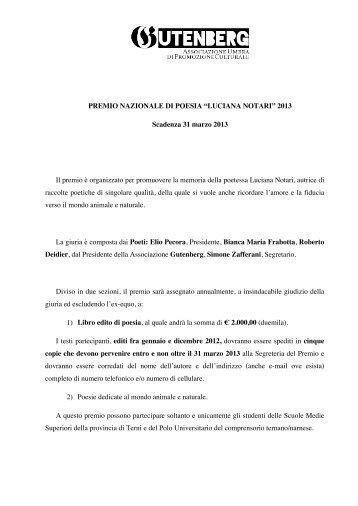 """PREMIO NAZIONALE DI POESIA """"LUCIANA ... - Concorsi Letterari"""