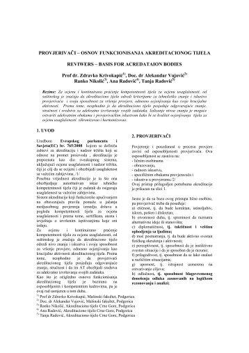 osnov funkcionisanja akreditacionog tijela