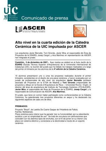 Alto nivel en la cuarta edición de la Cátedra Cerámica ... - Tile of Spain